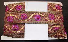 Vino rosado Joya Lentejuelas indio Pastel de Bodas Baile Disfraz Cinta de Malla de diamantes de imitación