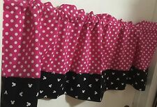 Pink Polka Dot With Black And White Minnie Mouse Border Curtain Panels