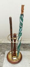 Victorian Brass & Mahogany Nautical Style Walking Stick Umbrella Hall Stand.