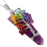 Amethyst Crystal Tree Of Life Chakra Pendant Silver Wire Wrap Gemstone Necklace