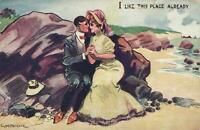 VINTAGE COMIC GM Payne I LIKE THIS PLACE ALREADY LOVERS on BEACH POSTCARD - USED