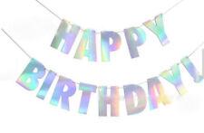 Iridescent Happy Birthday Bunting Garland Alphabet Hanging Banner Unicorn Party