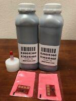 (200g x 2) Toner Refill for Lexmark E260, E260dn E360, E460 Printer + 2 Chip