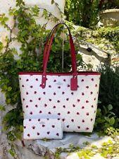 NWT Coach LadyBug Print Reversible tote handbag/wallet White/red