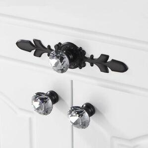 Glass Dresser Knobs Pulls Crystal Drawer Knob Black Clear Rhinestone Handles