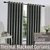 Ring Top Thermal Grey Blackout Curtains Ready Made Bedroom Window Curtain Pair