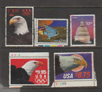 USA 5 HI VALUE STAMPS SC #'s 2394,2540-41,2543,2548 USED FREE USA SHIPPING