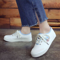 Women Casual Round Toe Canvas Breathable Sneakers Lace up Comfy Flat Shoes Sz