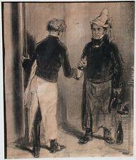 Honore Daumier original newspaper cartoon from 1846 Men With Bottles of Wine