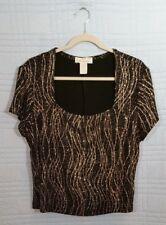 DressBarn Women XL Black Short Sleeve Gold Accent Scoop Neck Top