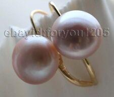 Pearl earrings 14k #f1809! Genuine Natural 11mm Purple