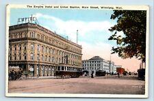 Winnipeg, Manitoba, Canada - 1900s STREET SCENE UNION STATION & HOTEL - POSTCARD