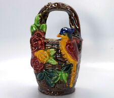 Vintage Japan Multi Colored Bird on a Basket with Flowers Wall Pocket