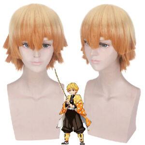 Anime Demon Slayer Agatsuma Zenitsu Yellow Short Gradient Ramp Wigs Cosplay Prop