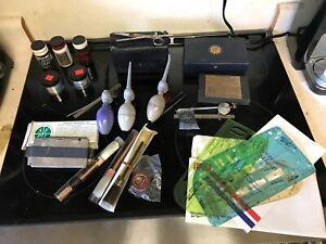 Vintage fingerprint kit Law Enforcement Detective Case accessories Blacklight