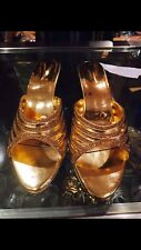 Size 4 Ladies Indian Bollywood Casual Shoes Heels Sandals Slip Ons Gold