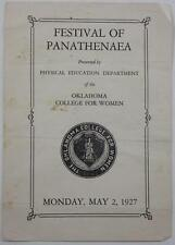 OKLAHOMA COLLEGE FOR WOMEN MAY 1927 FESTIVAL PANATHENAEA PHAMPLET CHICKASHA
