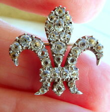 of Wales Fleur de Lys Lace Pin Georgian Gold Silver and Black Dot Paste Prince