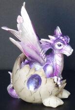 "Amethyst Birthstone Dragon in Egg Shell February Figure Statue H5.5"""