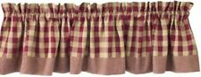 Primitive Country Wine York Valance 72X14 Buffalo Check Cotton Farmhouse Window