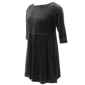 Talbots Plus Size Black Velvet Cotton blend Crew Neck Mini Dress Petite 2X