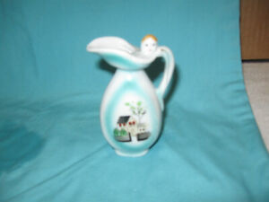 Vintage Japanese Pitcher Bud Vase With House and Head at Top Made in Japan
