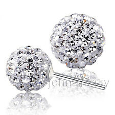 1 Pair Fashion Women Lady Elegant Crystal  Disco Ball Bead Ear Stud Earrings