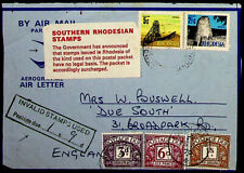 SOUTHERN RHODESIA AEROGRAM FRONT WITH GB 3 POSTAGE DUE INVALID STAMPS