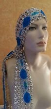 Gatsby 20's Silver Turquoise Illusion Jewel Mesh Crystal Bridal Headpiece Party