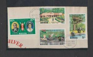 Kenya 1977 Silver Jubilee set Ex FDC pmk on piece per scan