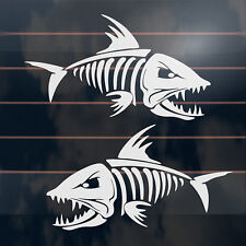 2 X Skeleton Fish Stickers 170mm Fishing Skull Boat Car Window Decal