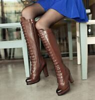 Womens Carved Wing Tip Lace Up Block Heels Knee High Boots Riding Leather Shoes