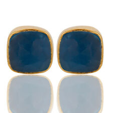 18k Gold Plated Handmade Blue Chalcedony Brass Stud Earrings Jewelry