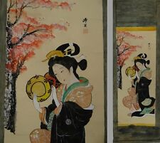 YK431 KAKEJIKU Portrait Kimono Hanging Scroll Japanese painting Picture Nihonga