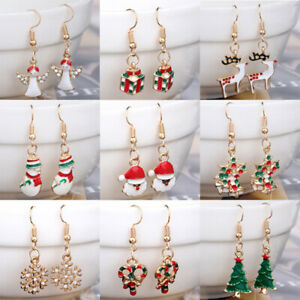 Christmas Tree Bell Snowman Father Xmas Stocking Hangings Earrings Gift Free P&P