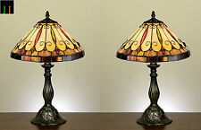 Pair - JT Tiffany Felice Style Stained Glass Bedside Table Desk Lamp Light