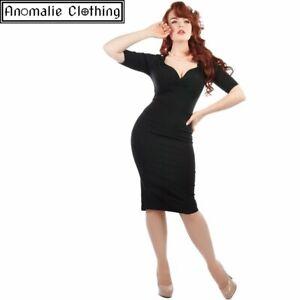 Collectif Trixie Pencil Dress Black - 1940s 1950s Retro Rockabilly Pinup Formal