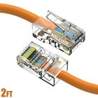 2FT Cat5e RJ45 Ethernet LAN Network UTP Non-Booted Patch Cable Copper Orange