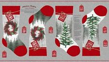 Holiday Traditions Quilt Fabric Panel Vintage Christmas Stockings Wreaths Trees