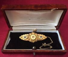 More details for antique 15k 15ct gold diamond & sapphire brooch pin w/ presentation box.