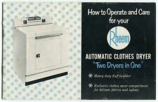 """Vintage """"RHEEM"""" Owners Manual: """"Automatic Clothes Dryer"""""""