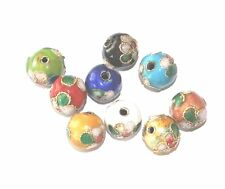 100 COLOURED ROUND CLOISONNE CHINESE FLOWER JEWELLERY CRAFT BEADS - 6mm 8mm 10mm