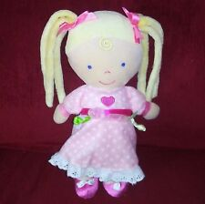 Kids Preferred Doll Blonde Pigtails Pink Polka Dot Dress Pink Bows Shoes Heart