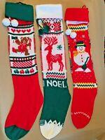 Vintage Christmas Stocking Knit Red White Green Stripes Pom Pom Snowman Deer Lot