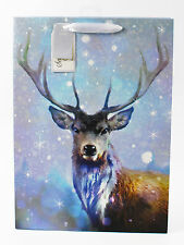 Merry Christmas Gift Bag Large Luxury Quality Wrap Handles Tag Traditional Deer