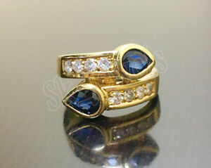 IGI Certified 0.42ct Natural Round Diamond 14K Yellow Gold Sapphire Wedding Ring