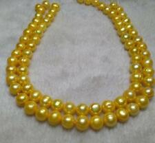 """HUGE 11-13MM NATURAL SOUTH SEA GENUINE GOLDEN PEARL NECKLACE 35"""" 14K GOLD CLASP"""