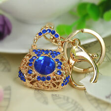 Bag Blue Keyring Rhinestone Crystal Pendant Key Chain Christmas Gift New Arrival