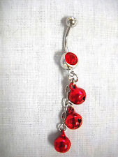 NEW BOLLYWOOD DANCE RED DANGLING JINGLE BELLS CHAIN ON 14g RED CZ NAVEL RING BAR