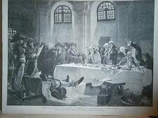 """Gravure 19° L'appel des girondins prison de la Conciergerie """"révolution"""""""